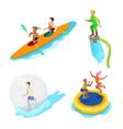 isometric people on water activity kayaking vector image