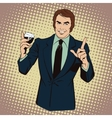 People in style popart Man offering drink alcohol vector image