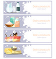 set of dairy products horizontal banners in vector image