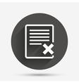 Delete file sign icon Remove document symbol vector image