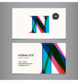 Business card template letter N vector image vector image