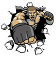 MMA fighter break the wall vector image