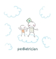 pediatrician with baby runs on clouds vector image vector image