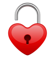 open red shiny heart lock shape vector image vector image