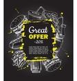 fast food sale banner on blackboard Junk vector image