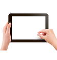 Two hands with tablet computer vector image