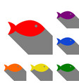 fish sign set of red orange yellow vector image