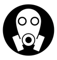 Gas mask symbol button vector image