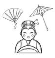 Geisha in kimono with fan and paper umbrella vector image