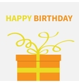 Gift box with yellow curl ribbon and bow Present vector image