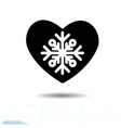heart black charming snowflake design elements vector image