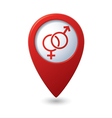 Map pointer button with male female symbol vector image