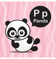 P Panda color cartoon and alphabet for children to vector image
