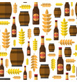 seamless pattern beer barrels and bottles ornament vector image