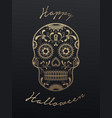 sugar skull day of the dead and halloween vector image
