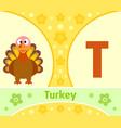 the english alphabet with turkey vector image