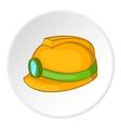 Helmet with light icon cartoon style vector image