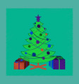 flat shading style icon christmas tree gifts vector image