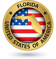 Florida state gold label with state map vector image