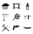 building tool icons set simple style vector image