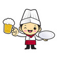 funny cook character holding a plate and a beer vector image