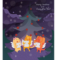 Funny Merry Christmas card with cat dog and bunny vector image