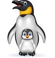 Happy emperor penguin with baby vector image