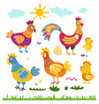 Set hen rooster chicken for children The character vector image