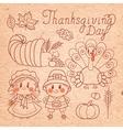 Set of vintage elements for Thanksgiving vector image