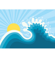 wave in oceanwater nature background with sun vector image