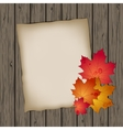 Paper sheet with autumn leaves vector image vector image