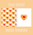 cover design with cookies hearts pattern vector image