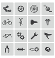 black bicycle part icons set vector image