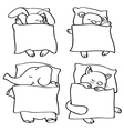animals sleeping contour vector image