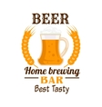 Frothy beer mug emblem with wheat ears vector image