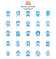 Modern Flat Line Color Icons People avatars vector image vector image