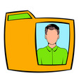 yellow folder with male photo icon cartoon vector image