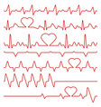 cardiogram and pulse symbols with heart vector image
