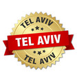 tel aviv round golden badge with red ribbon vector image