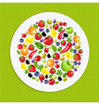 White Plate With Fruit And Vegetables vector image vector image