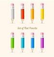 rainbow pencil set flat vector image vector image