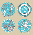 Sketch marine icons vector image