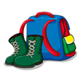 Backpack and camping boots vector image