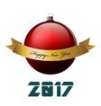 Big red christmas ball and gold ribbon Happy New vector image