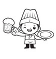 black and white cartoon chef mascot holding a vector image