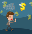 Business Man Catch Dollar Currency vector image