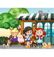 Children playing with cats and dogs vector image