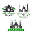 eid mubarak festival muslim greetings set vector image