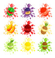 fresh fruits splashes set juicy ripe fruits vector image