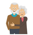 happy elderly couple standing in an embrace vector image